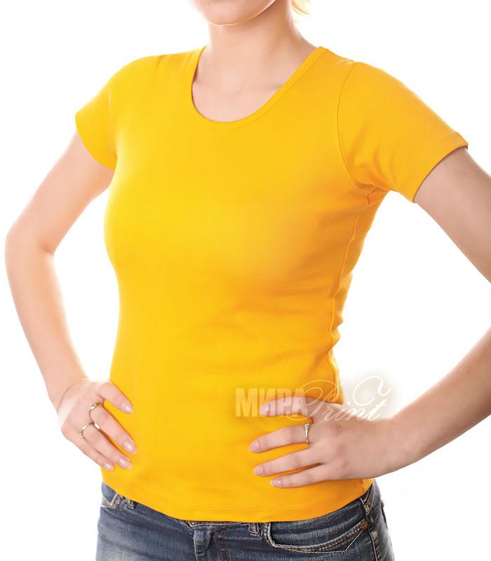 Футболка для печати женская, желтая