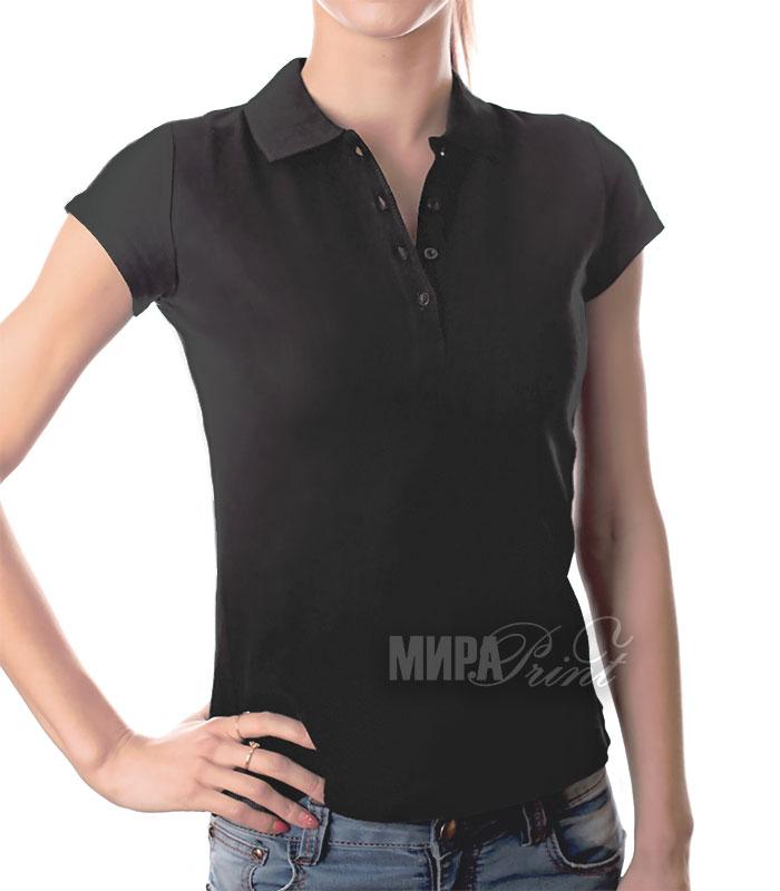 Женское поло для печати, черное