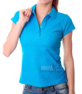 Женское поло для печати, голубое