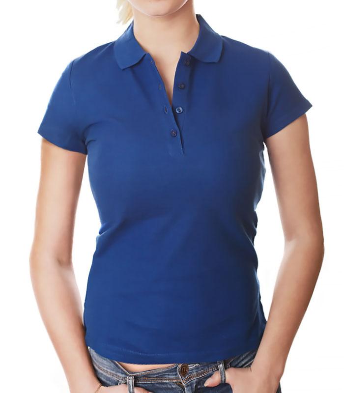 Женское поло для печати, ярко-синее