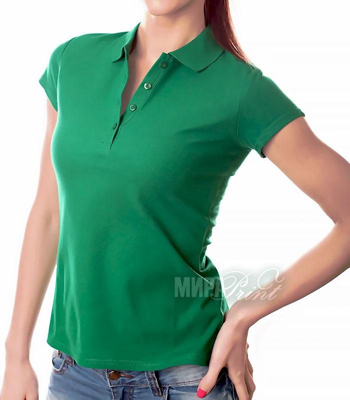 Женское поло для печати, зеленое
