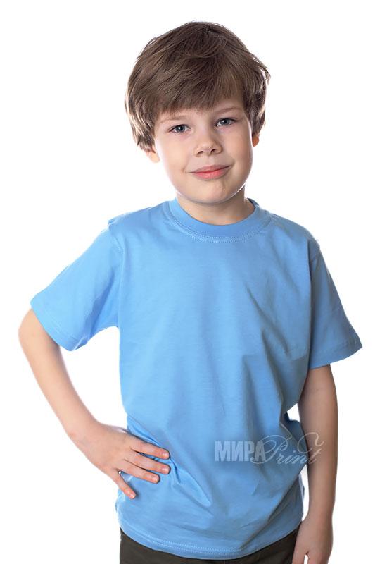 Детская футболка для печати, голубая